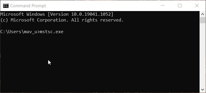 The mstsc.exe Command Prompt command in Windows 10