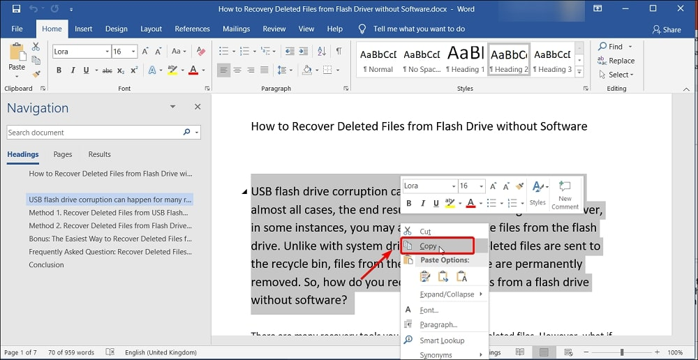 Copy text that you want to insert into PowerPoint