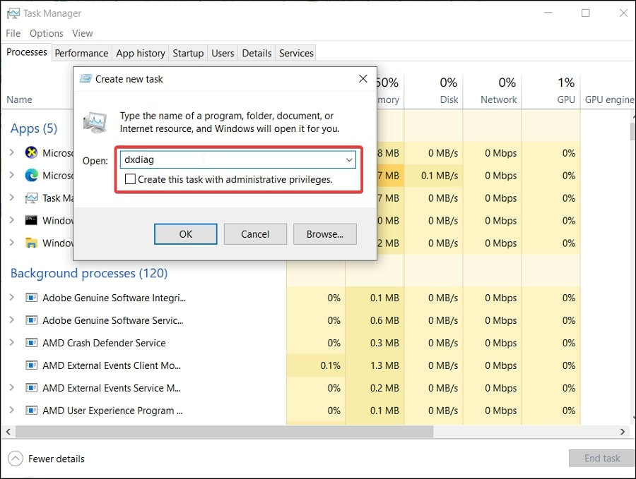 Open DirectX Diagnostic Tool in Windows 10 via Task Manager