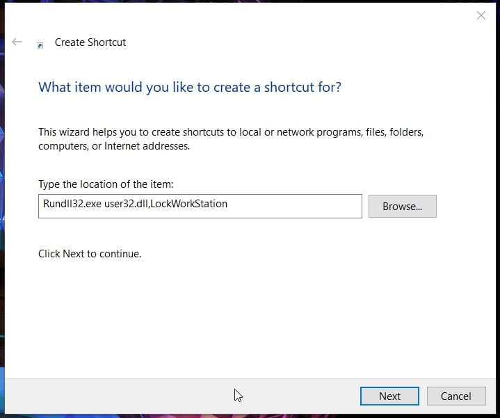 Create Shortcut window for lock screen in Windows 10
