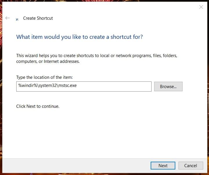 Create Shortcut for RDC in Windows 10