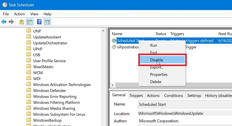 The Disable option for Scheduled Start in Windows 10