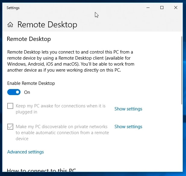 The Enable Remote Desktop option in Windows 10