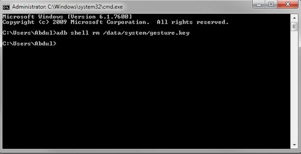 entering the command in cmd to bypass Android lock screen