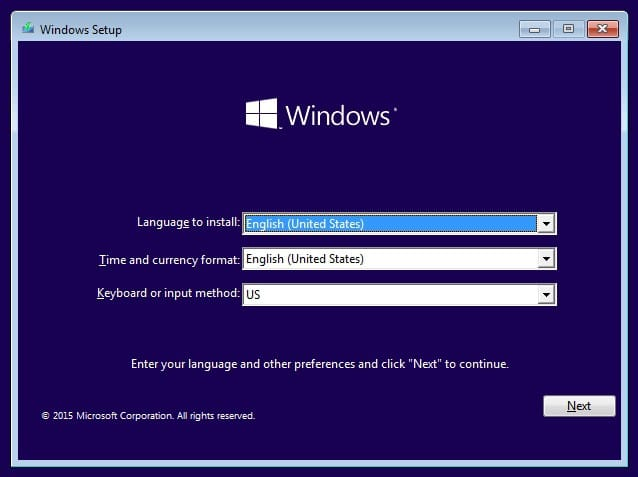 Windows setup in Windows 10