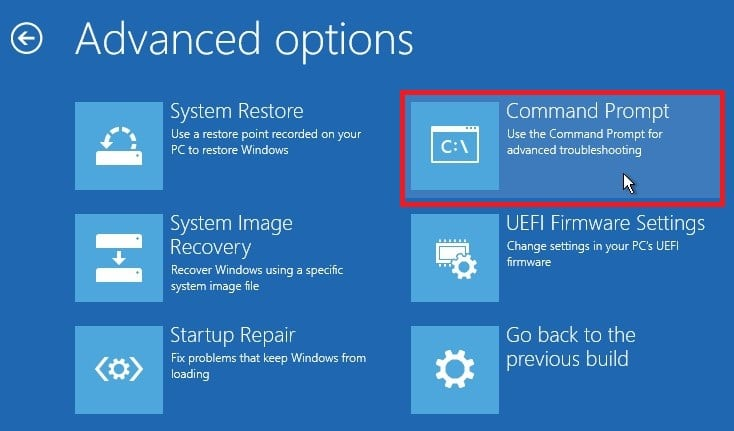 Choose Command Prompt in Windows 10 Advanced options