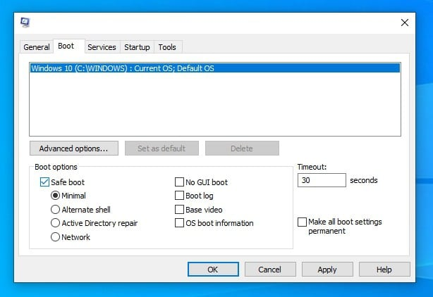 Boot In Safe Mode Windows 10 via System Configuration