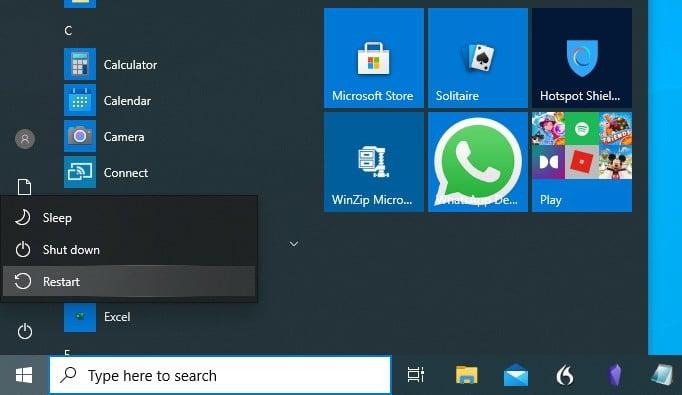 Power menu in Windows start