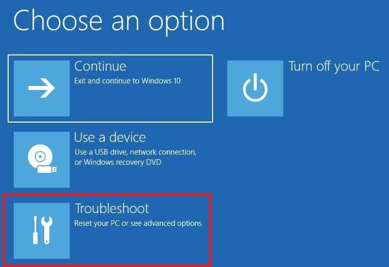 Choose Troubleshoot in Windows 10