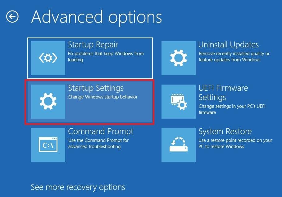 Choose Startup Settings in Windows 10