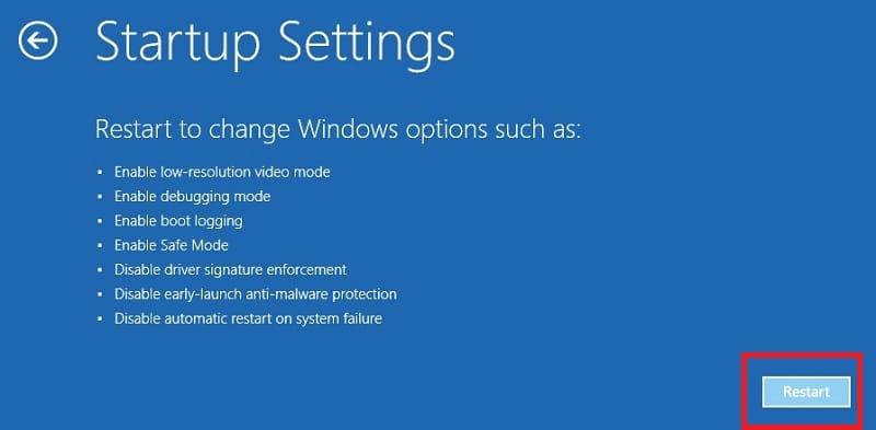 Restart in Startup settings Windows 10
