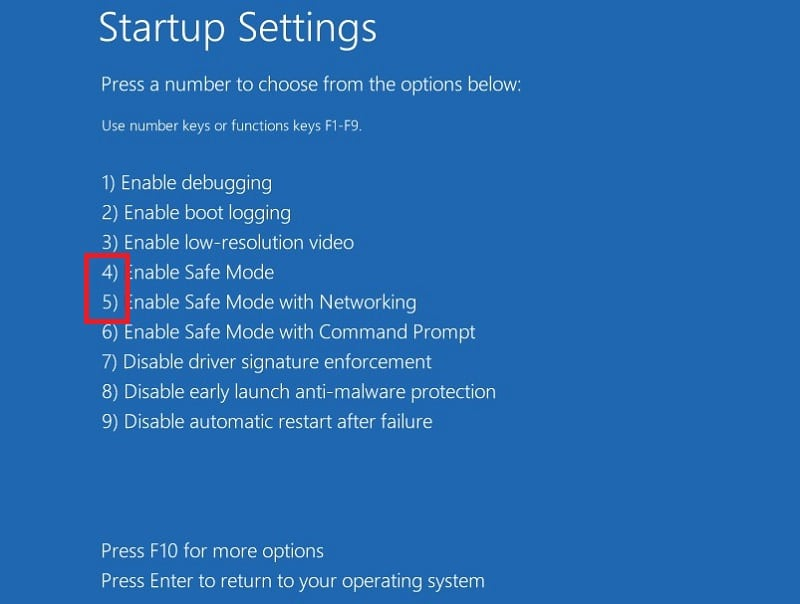 Enter safe mode or safe mode with networking in Windows 10