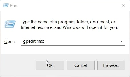 The gpedit.msc Group Policy run command in Windows 10