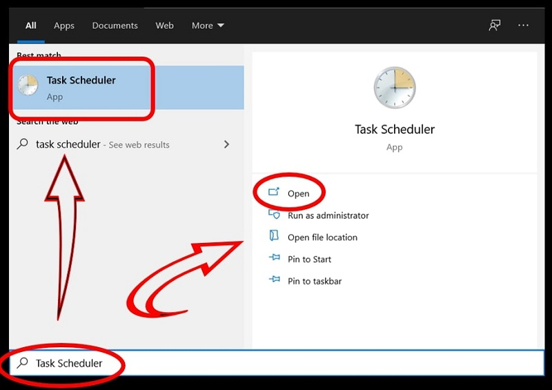 Use search menu to open the task scheduler on Windows 10