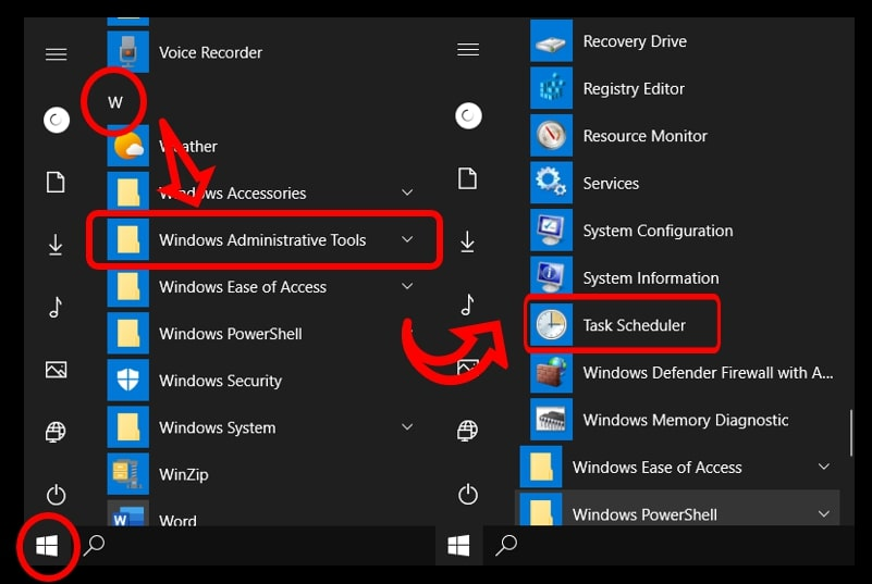 Use Start menu to access the Task Scheduler on Windows 10