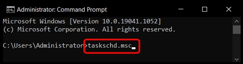 Use command prompt to open the Task Scheduler on Windows 10