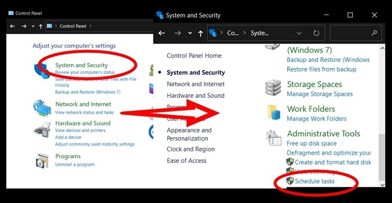 Use Control Panel to schedule a task in Windows 10