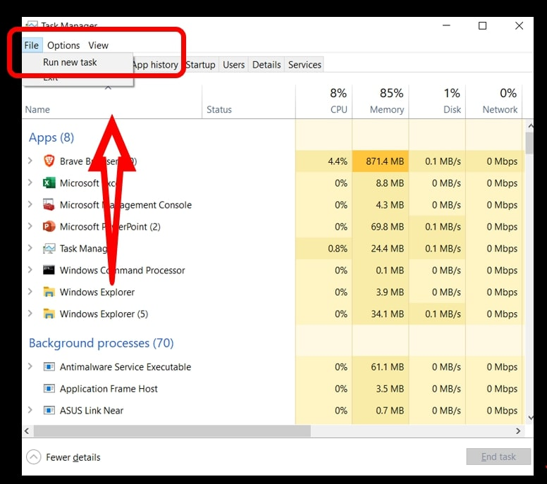 Use Task Manager highlighting to create a new task on Windows 10