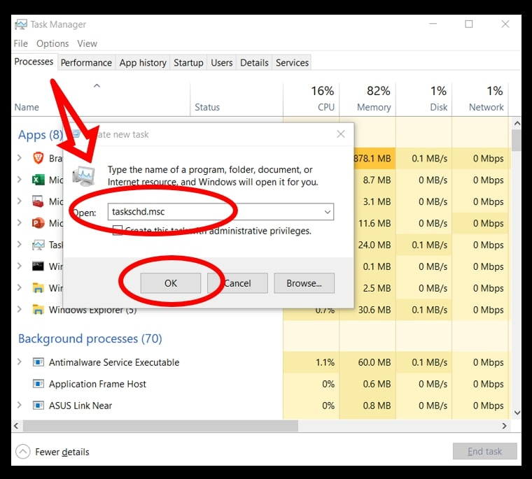 Use task manager to initiate the Task Scheduler on Windows 10