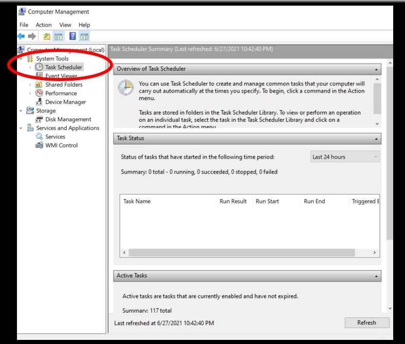 Use computer management to open Task Scheduler on Windows 10