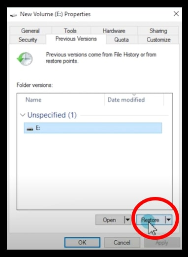 The restore option within Restore Previous version on Windows 10