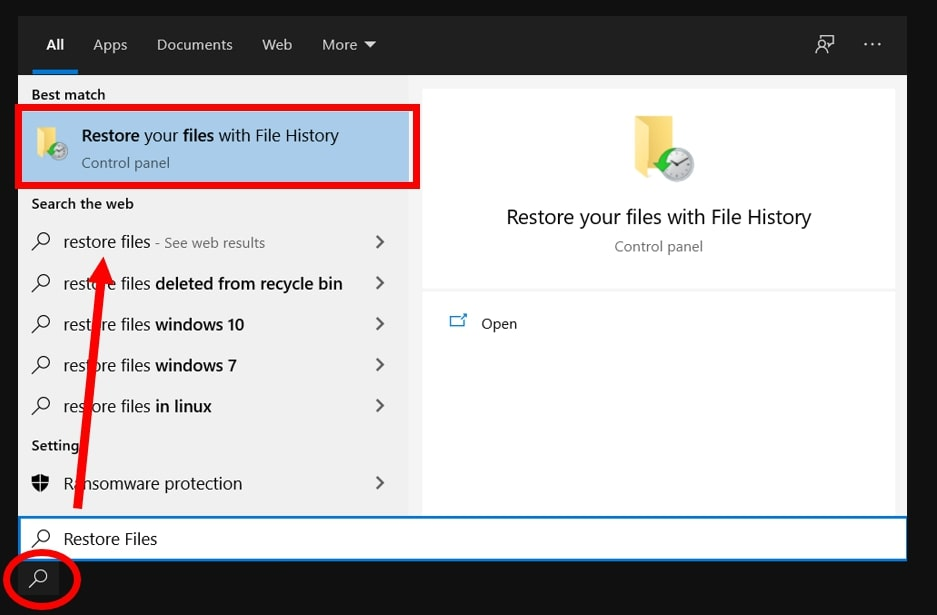 Search File History feature on Windows 10