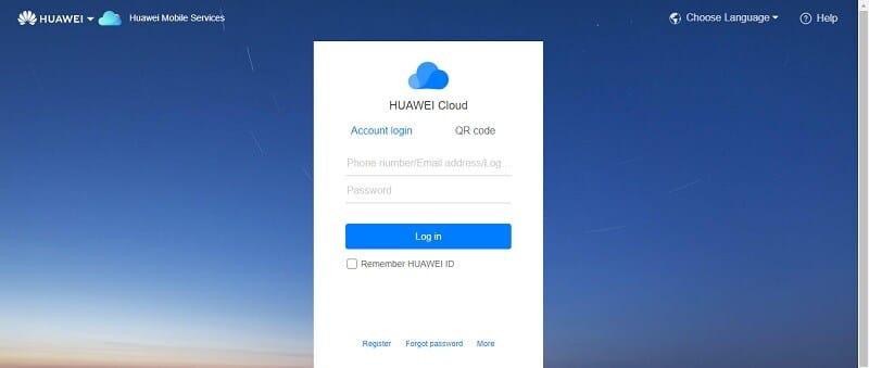 the Huawei Cloud login page