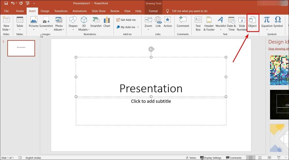 Insert Object in PowerPoint