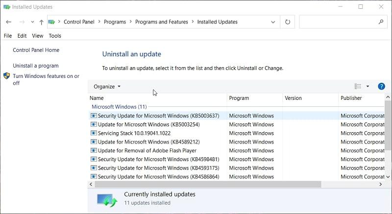 Installed updates list in Windows 10