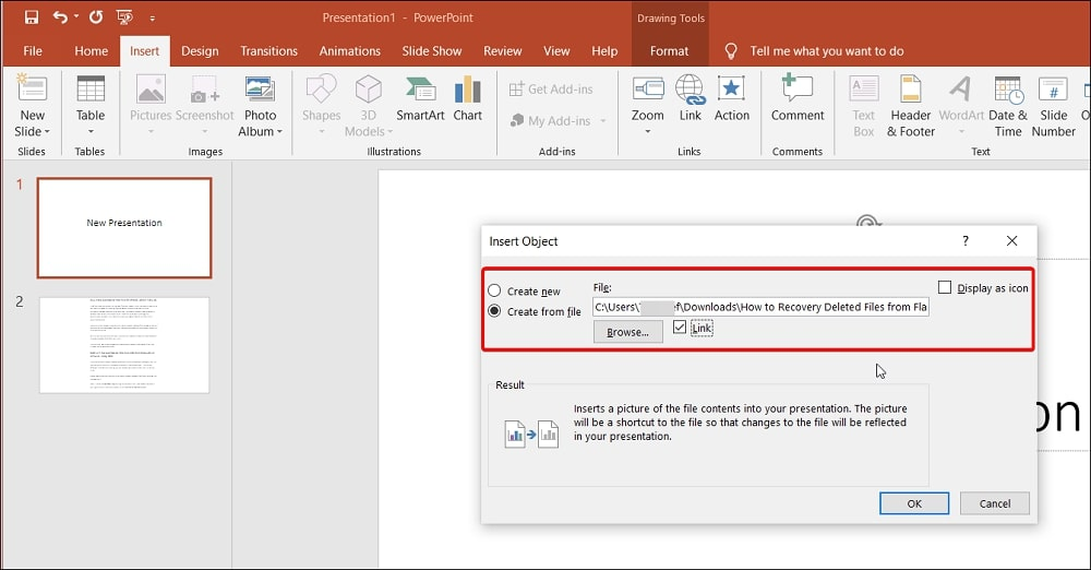 show the Word document text in the presentation