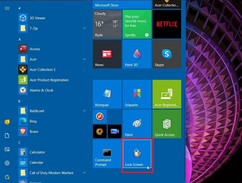 A lock screen shortcut in Start menu Windows 10