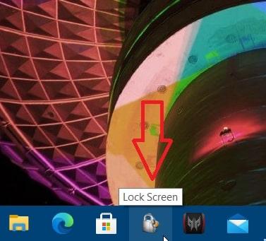 A lock screen shortcut in taskbar Windows 10