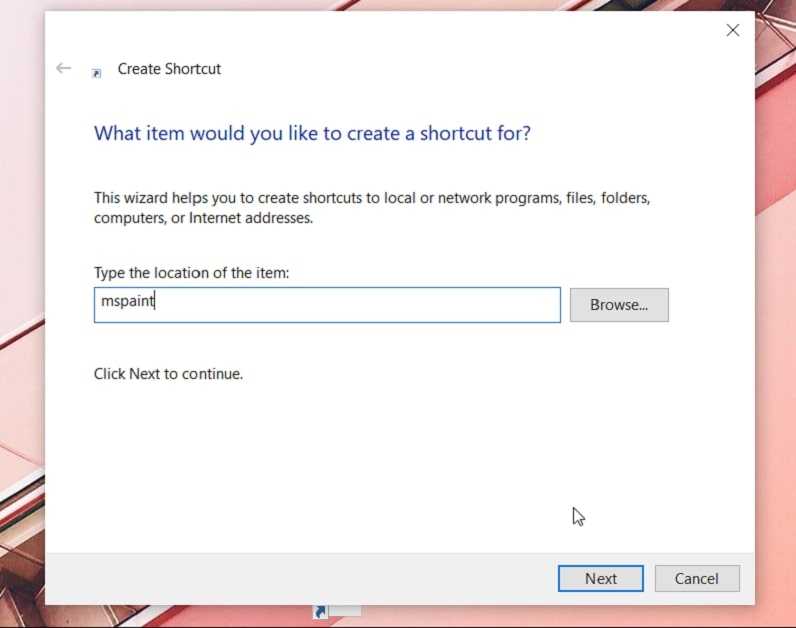 Create a Shortcut to Open Paint in Windows 10