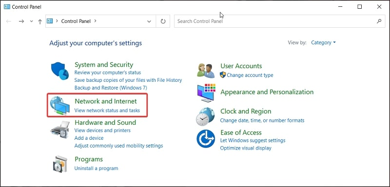 Network and Internet in Control Panel Windows 10