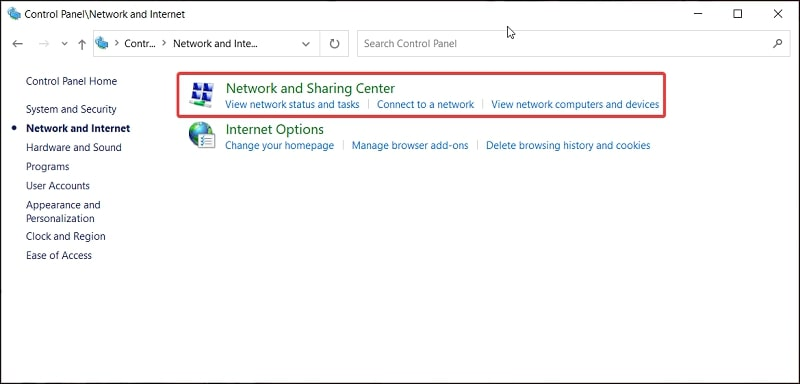 Network and Sharing Center in Control Panel Windows 10