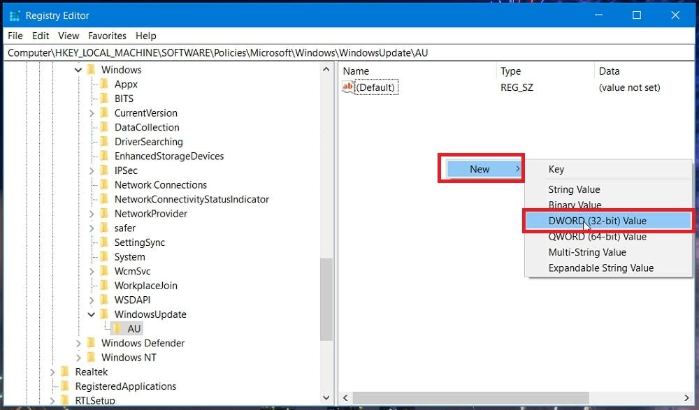 The DWORD (32-bit) Value context menu option