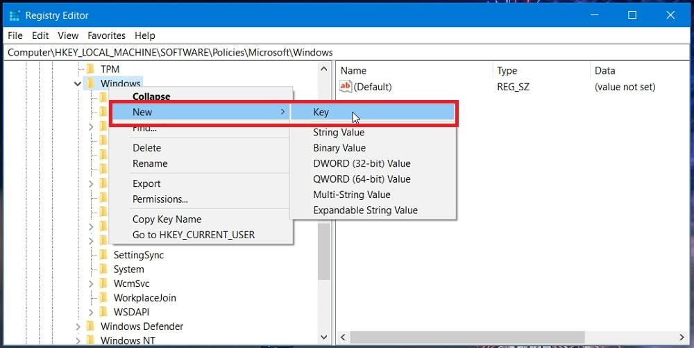 The New Key option in Windows 10 registry key