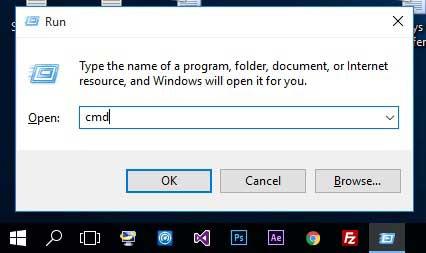 opening cmd through the run window