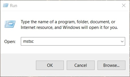Open Remote Desktop Connection in Windows 10 from Run