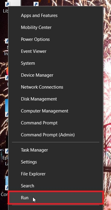 Open Run from Win + X menu in Windows 10
