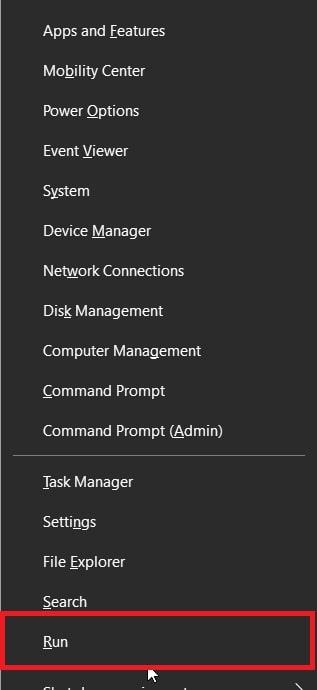 Open Run from The Win + X menu in Windows 10