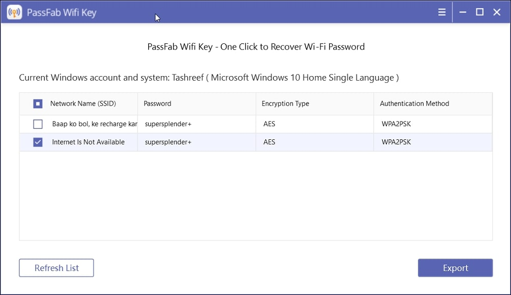 Find Wi-Fi Password in Windows 10 Using A Wi-Fi Password Viewer