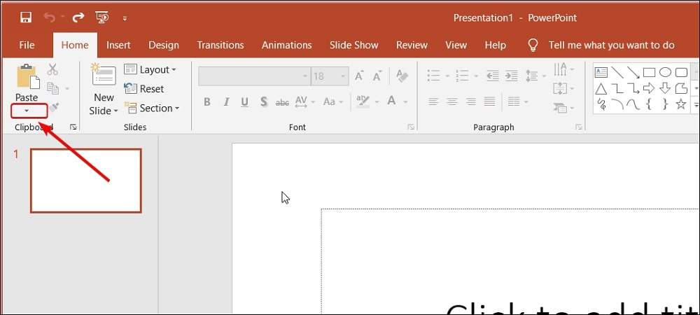 Click the Paste option in PowerPoint