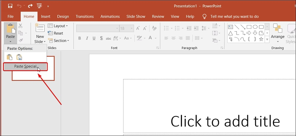 Select Paste Special in PowerPoint