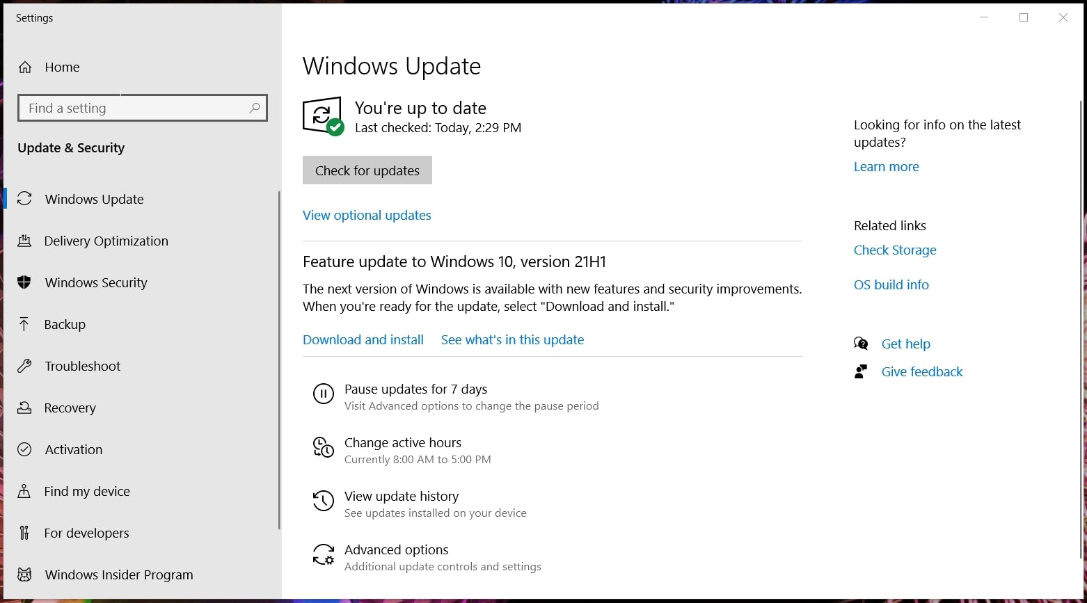 The Pause updates button in Windows 10