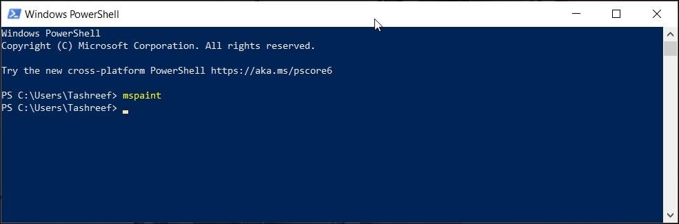 Open Paint in Windows 10 via Windows PowerShell