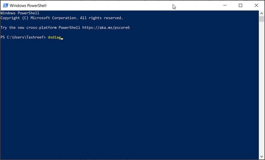 Open DirectX Diagnostic Tool in Windows 10 from PowerShell