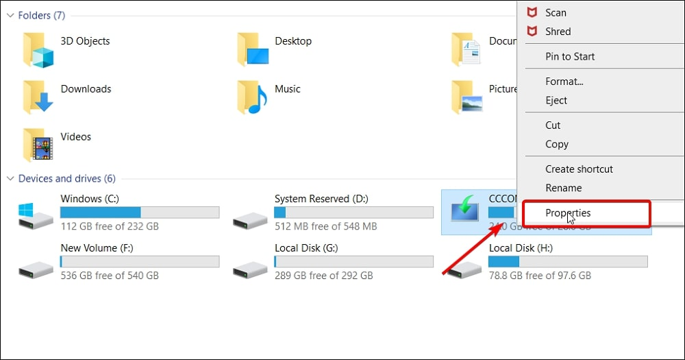 Properties of the USB drive