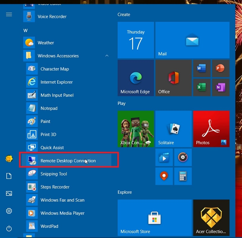 Remote Desktop Connection on the Windows 10 Start menu