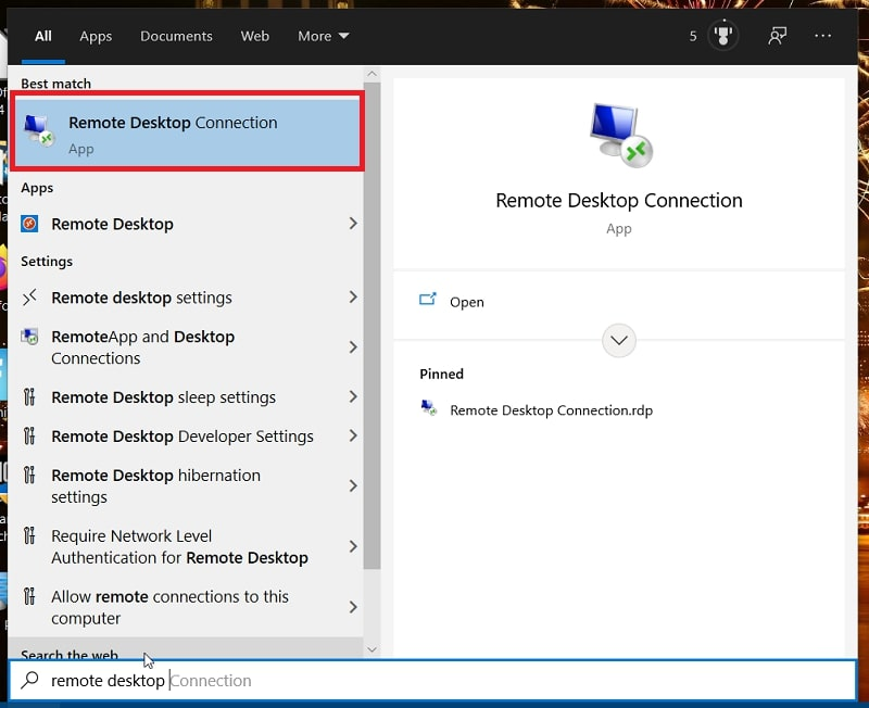 A Remote Desktop Connection search in Windows 10